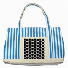 Hexagon2 Black Marble & White Marble Striped Blue Tote Bag by trendistuff