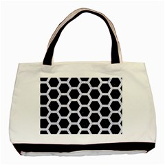 Hexagon2 Black Marble & White Marble Basic Tote Bag (two Sides) by trendistuff