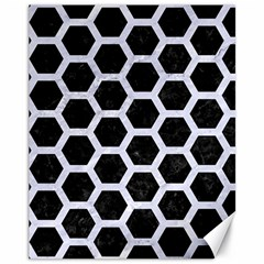 Hexagon2 Black Marble & White Marble Canvas 11  X 14  by trendistuff