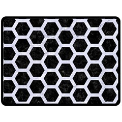 Hexagon2 Black Marble & White Marble Double Sided Fleece Blanket (large) by trendistuff