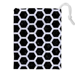 Hexagon2 Black Marble & White Marble Drawstring Pouch (xxl) by trendistuff