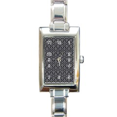 Hexagon1 Black Marble & White Marble Rectangle Italian Charm Watch by trendistuff
