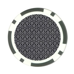 Hexagon1 Black Marble & White Marble Poker Chip Card Guard by trendistuff