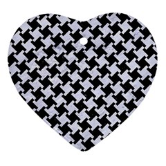 Houndstooth2 Black Marble & White Marble Ornament (heart) by trendistuff