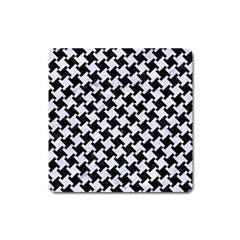 Houndstooth2 Black Marble & White Marble Magnet (square) by trendistuff