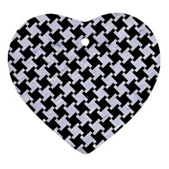 Houndstooth2 Black Marble & White Marble Heart Ornament (two Sides) by trendistuff
