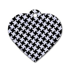 Houndstooth2 Black Marble & White Marble Dog Tag Heart (one Side) by trendistuff