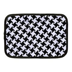 Houndstooth2 Black Marble & White Marble Netbook Case (medium) by trendistuff