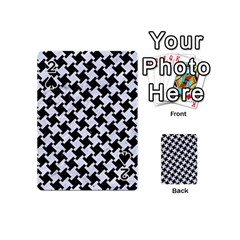 Houndstooth2 Black Marble & White Marble Playing Cards 54 (mini) by trendistuff