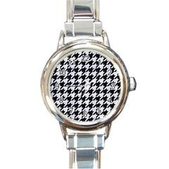 Houndstooth1 Black Marble & White Marble Round Italian Charm Watch by trendistuff