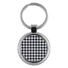 Houndstooth1 Black Marble & White Marble Key Chain (round) by trendistuff