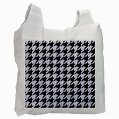 Houndstooth1 Black Marble & White Marble Recycle Bag (two Side) by trendistuff