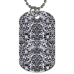 Damask2 Black Marble & White Marble (r) Dog Tag (two Sides) by trendistuff