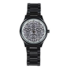 Damask2 Black Marble & White Marble (r) Stainless Steel Round Watch by trendistuff