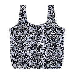 Damask2 Black Marble & White Marble (r) Full Print Recycle Bag (l) by trendistuff
