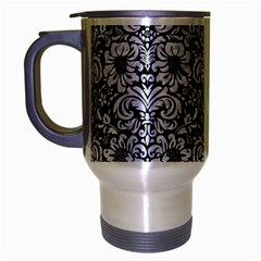Damask2 Black Marble & White Marble Travel Mug (silver Gray) by trendistuff