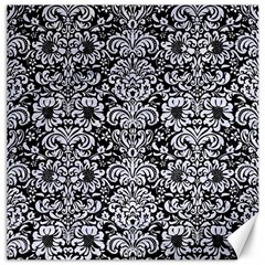 Damask2 Black Marble & White Marble Canvas 12  X 12  by trendistuff