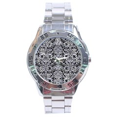 Damask2 Black Marble & White Marble Stainless Steel Analogue Watch by trendistuff