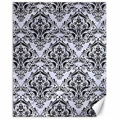 Damask1 Black Marble & White Marble (r) Canvas 11  X 14  by trendistuff