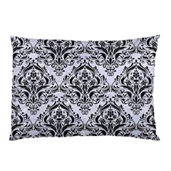 Damask1 Black Marble & White Marble (r) Pillow Case (two Sides) by trendistuff