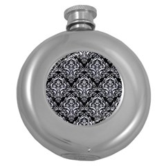 Damask1 Black Marble & White Marble Hip Flask (5 Oz) by trendistuff