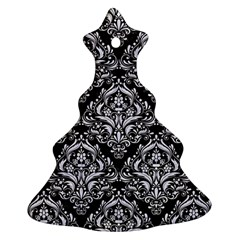 Damask1 Black Marble & White Marble Christmas Tree Ornament (two Sides) by trendistuff