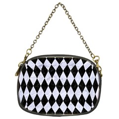 Diamond1 Black Marble & White Marble Chain Purse (two Sides)