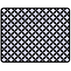 Circles3 Black Marble & White Marble (r) Double Sided Fleece Blanket (medium) by trendistuff