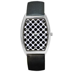 Circles2 Black Marble & White Marble (r) Barrel Style Metal Watch by trendistuff