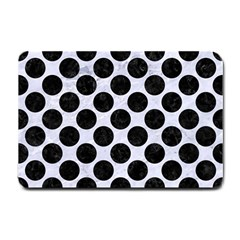 Circles2 Black Marble & White Marble (r) Small Doormat by trendistuff
