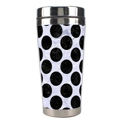 Circles2 Black Marble & White Marble (r) Stainless Steel Travel Tumbler by trendistuff
