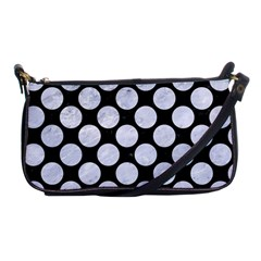 Circles2 Black Marble & White Marble Shoulder Clutch Bag by trendistuff