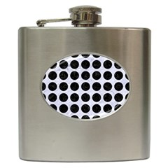 Circles1 Black Marble & White Marble (r) Hip Flask (6 Oz) by trendistuff