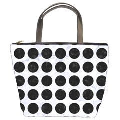 Circles1 Black Marble & White Marble (r) Bucket Bag by trendistuff