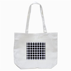 Circles1 Black Marble & White Marble (r) Tote Bag (white) by trendistuff
