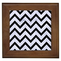 Chevron9 Black Marble & White Marble (r) Framed Tile by trendistuff