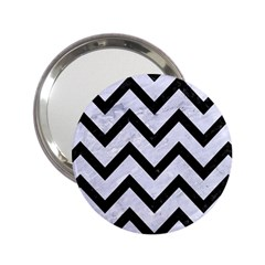 Chevron9 Black Marble & White Marble (r) 2 25  Handbag Mirror by trendistuff