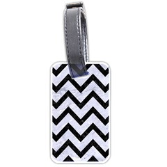 Chevron9 Black Marble & White Marble (r) Luggage Tag (two Sides) by trendistuff