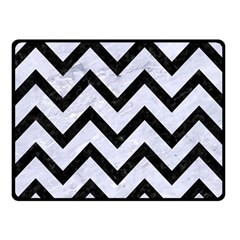 Chevron9 Black Marble & White Marble (r) Double Sided Fleece Blanket (small) by trendistuff