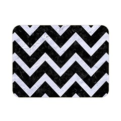 Chevron9 Black Marble & White Marble Double Sided Flano Blanket (mini) by trendistuff