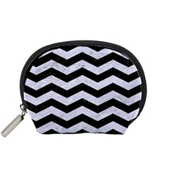 Chevron3 Black Marble & White Marble Accessory Pouch (small) by trendistuff