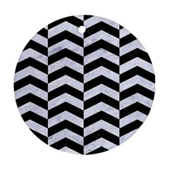 Chevron2 Black Marble & White Marble Ornament (round) by trendistuff
