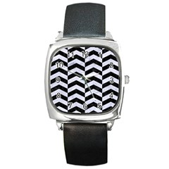 Chevron2 Black Marble & White Marble Square Metal Watch by trendistuff