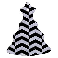 Chevron2 Black Marble & White Marble Christmas Tree Ornament (two Sides) by trendistuff