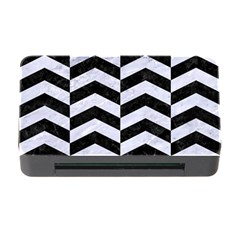 Chevron2 Black Marble & White Marble Memory Card Reader With Cf by trendistuff