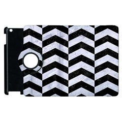 Chevron2 Black Marble & White Marble Apple Ipad 3/4 Flip 360 Case by trendistuff