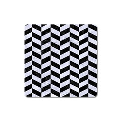 Chevron1 Black Marble & White Marble Magnet (square) by trendistuff