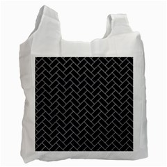 Brick2 Black Marble & White Marble Recycle Bag (two Side) by trendistuff