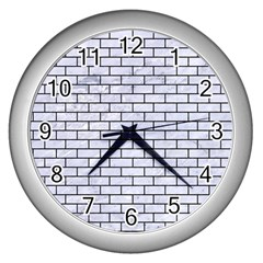 Brick1 Black Marble & White Marble (r) Wall Clock (silver) by trendistuff