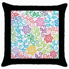 Texture Flowers Floral Seamless Throw Pillow Case (black)